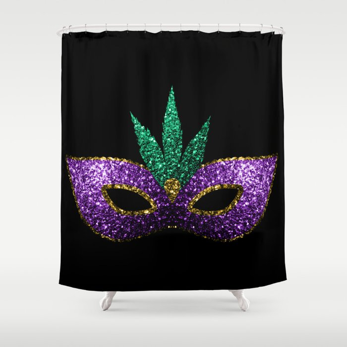 Mardi Gras Mask Purple Green Gold Sparkles Shower Curtain By Pldesign