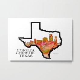 Texas State Map with Corpus Christie Skyline Metal Print