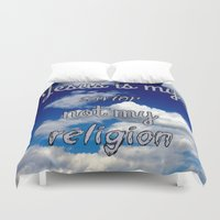 religion Duvet Covers featuring Jesus is my savior, not my religion by Kaitlynn Marie