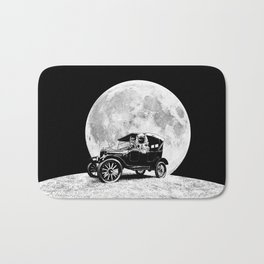 See you on the Moon - Old car - Model T - Spaceship, Astronaut - Retro - Astronomy Bath Mat