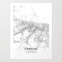 Caracas, Venezuela - Light Map Art Print