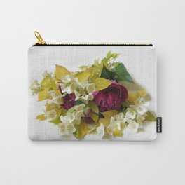 Golden Mock Orange and Pink Peonies Carry-All Pouch