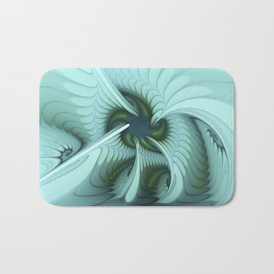 Green Lights in a blue Fantasy Fractal Bath Mat