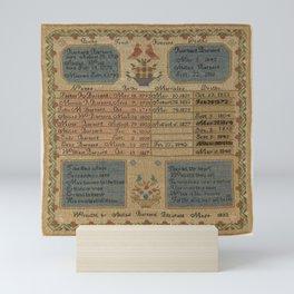 Abigail Barnard - Family Register Sampler (1833) Mini Art Print