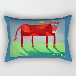 Udderly Confused - Funny Cow Art Rectangular Pillow