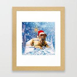 dogue de bordeaux dog Holidays Christmas Snow Framed Art Print