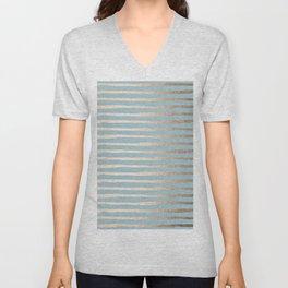 Abstract Stripes Gold Tropical Ocean Sea Blue Unisex V-Neck
