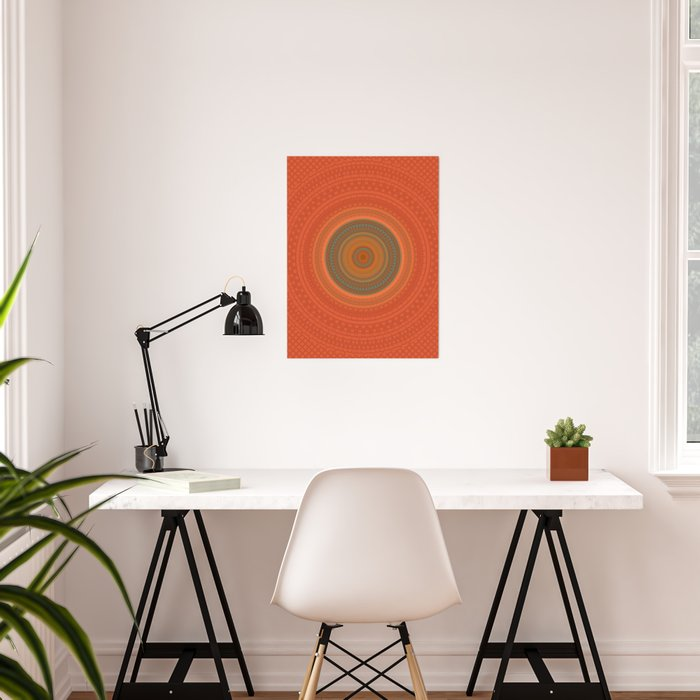 Vintage Orange Turquoise Pattern Mandala Poster