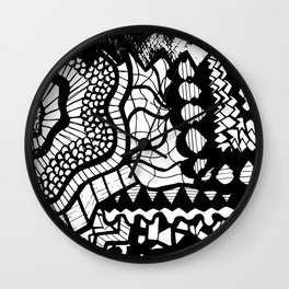 Free Hand Black and White Mix of Patterns Drawing Wall Clock
