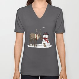 Santa's Reindeer Giving Snowman's Carrot Nose To Bunny Unisex V-Neck
