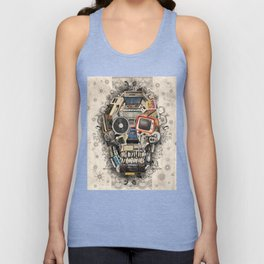 retro tech skull 2 Unisex Tank Top