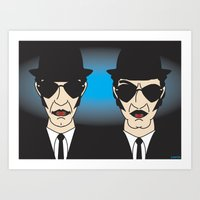 blues brothers Art Prints featuring THE BLUES BROTHERS by Laertis Art