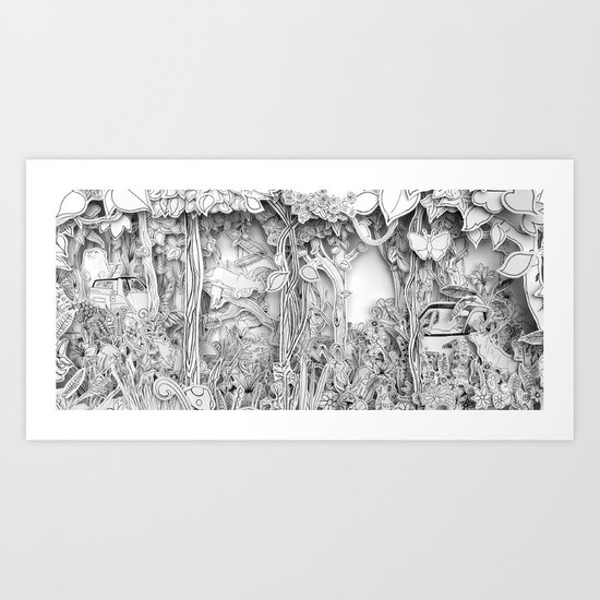 Cars in the Wild (3D version) Art Print