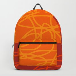 Chaos Lines On Red Orange Horizon Minimal Abstract Art Dalim Backpack
