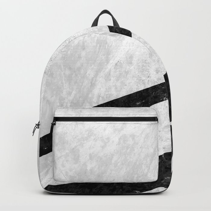 White Striped Marble Backpack
