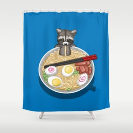 Raccoon Ramen Shower Curtain