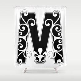 M Black & White Scroll Design Shower Curtain
