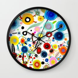 Rupydetequila whimsical floral art 2018 Wall Clock