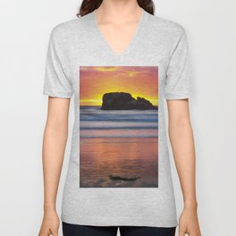 Perranporth Sunset, Cornwall, England, United Kingdom Unisex V-Neck