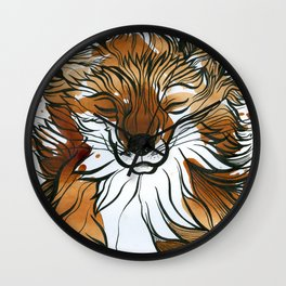 Sleepy Tea Fox Wall Clock