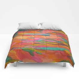 Rainbow Sherbet Abstract Painting Comforters