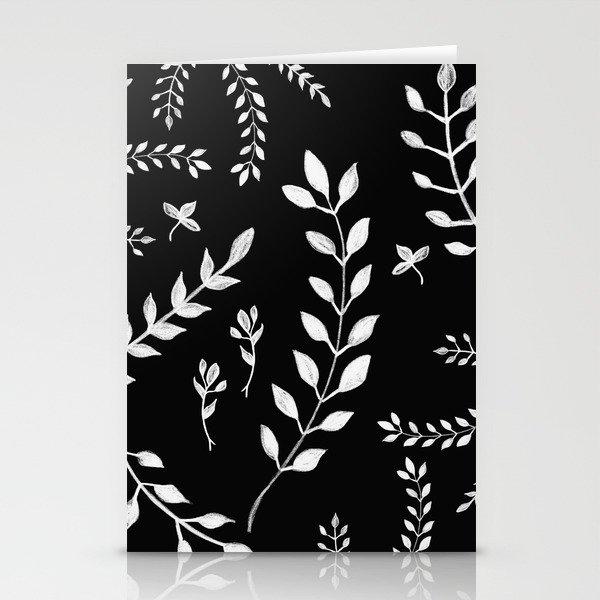 White Leaves Pattern 3 Drawing Decor Art Society6 Stationery Cards By Anitabellajantz Society6