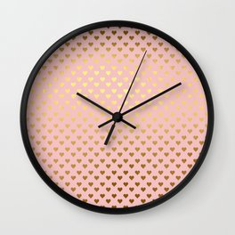 Gold and pink sparkling and shiny Hearts pattern Wall Clock