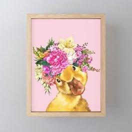 Flower Crown Baby Duck in Pink Framed Mini Art Print