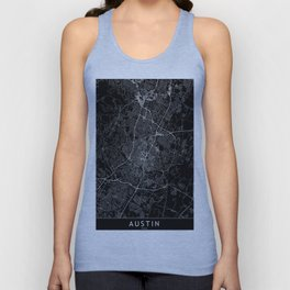 Austin Black Map Unisex Tank Top
