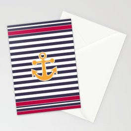 Blue , white , striped Stationery Cards