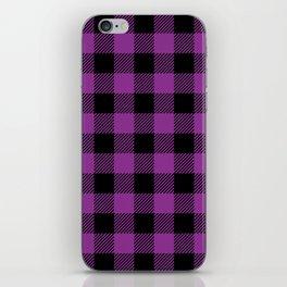 Buffalo Plaid - Purple & Black iPhone Skin