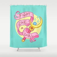 stickers Shower Curtains featuring Fight Like a Girl by ♡ SUSHICORE ♡
