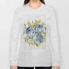 Blue Flowers Watercolor Long Sleeve T-shirt