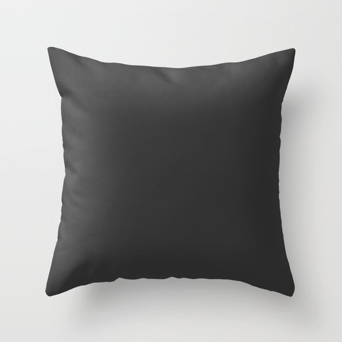 Charcoal Gray Solid Color Pairs w/ Sherwin Williams 2020 Trending Color Caviar SW6990 Throw Pillow