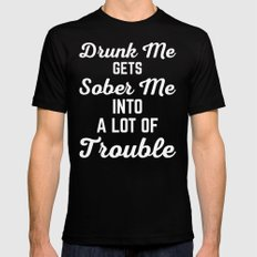 Drunk Me Funny Quote MEDIUM Black Mens Fitted Tee