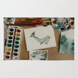 Watercolor Whale Rug