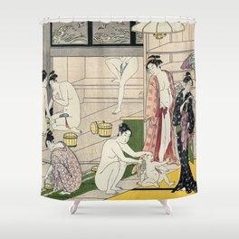Interior of a Bathhouse by Torii Kiyonaga - Japanese Woodblock Shower Curtain