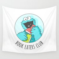 muppet Wall Tapestries featuring Book Monster by Sombras Blancas Art & Design