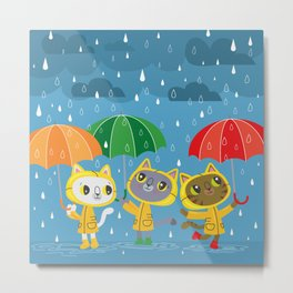 Rainy Day Kitty Cats Metal Print