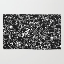 For Good For Evil - Black on White Rug