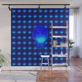 Blue Crystal Skull Wall Mural
