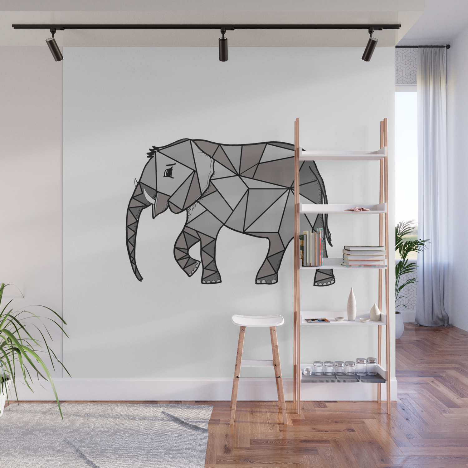 Elephant Drawing Simple Wall Mural By Vickonskey Society6