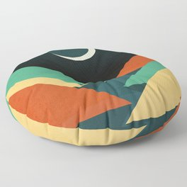 Quiet stream under crescent moon Floor Pillow