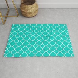 Aqua Blue Quatrefoil Clover Pattern Rug