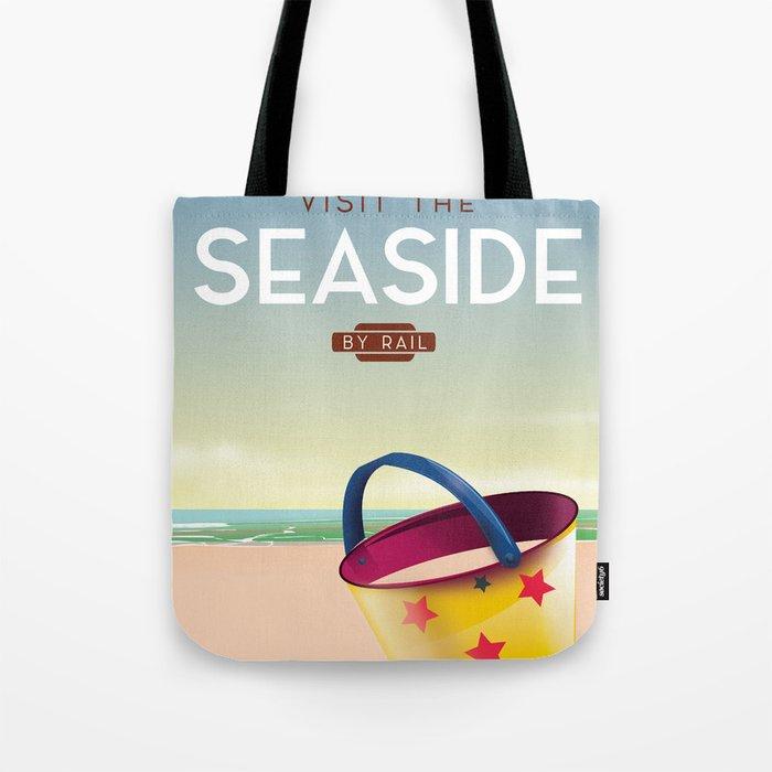 Visit the Seaside travel poster Tote Bag