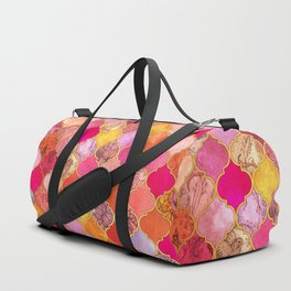 Hot Pink, Gold, Tangerine & Taupe Decorative Moroccan Tile Pattern Duffle Bag