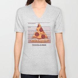 Hierarchy of Needs // Pizza, Psychology, Maslow Pyramid Unisex V-Neck