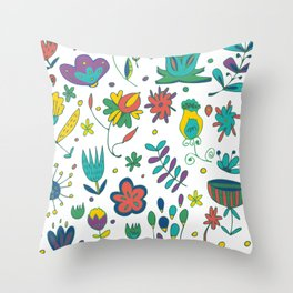 Flowers, flower meadow, nature Throw Pillow