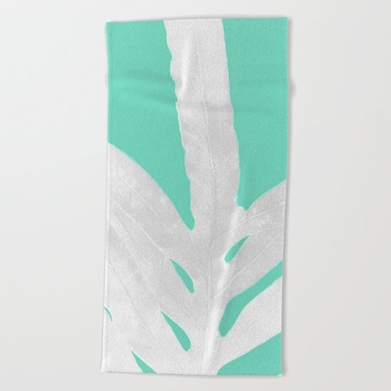 Green Fern on Ice Mint Green Inverted Silver Beach Towel