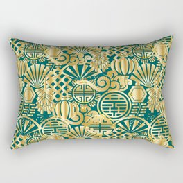 Chinese Symbols in Gold and Emerald Jade Green Rectangular Pillow
